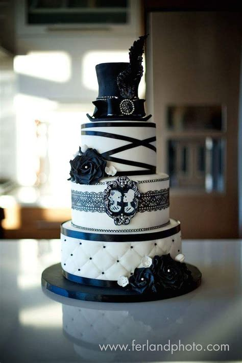 black  white wedding cake cakecentralcom