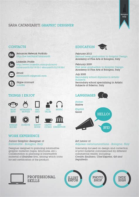 curriculum vitae for a graphic designer 50 awesome resume designs that will bag the hongkiat