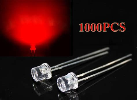 1000pcs 3mm flat top dip led diodes clear wide angle