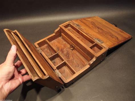old style wooden desk antique vintage style folding document writing slope wood