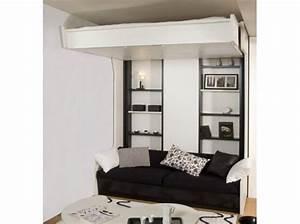superbe lit escamotable avec banquette 1 lit mezzanine With tapis jaune avec lit escamotable avec canape integre