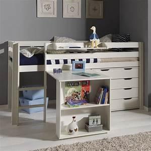 Lit Bureau Enfant : pack lit enfant bureau commode 4 tiroirs pino blanc ~ Teatrodelosmanantiales.com Idées de Décoration
