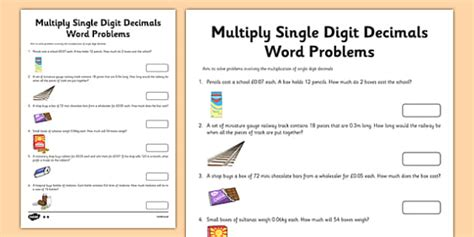 year  multiply single digit decimals word problems