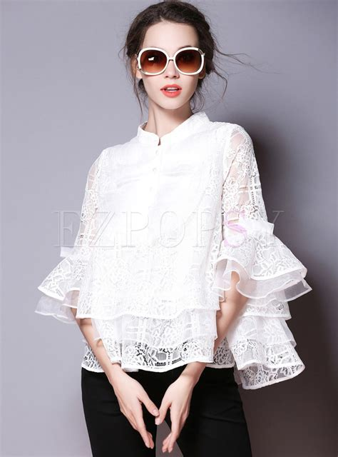 tops blouses chic flare lace stand collar blouse