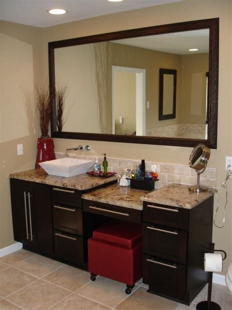 single sink bathroom vanity with makeup area what is on your master bathroom wish list