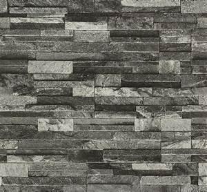 Slate Stone Brick Effect Textured Wallpaper 3D Vinyl Grey ...