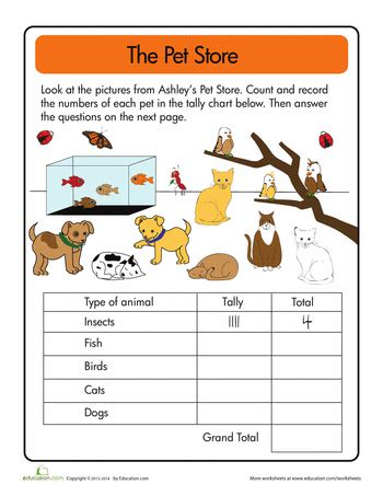 data  pet store tally pet store graphing