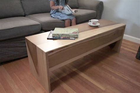 Handmade Wood Waterfall Bench + Coffee Table In Sun Tanned