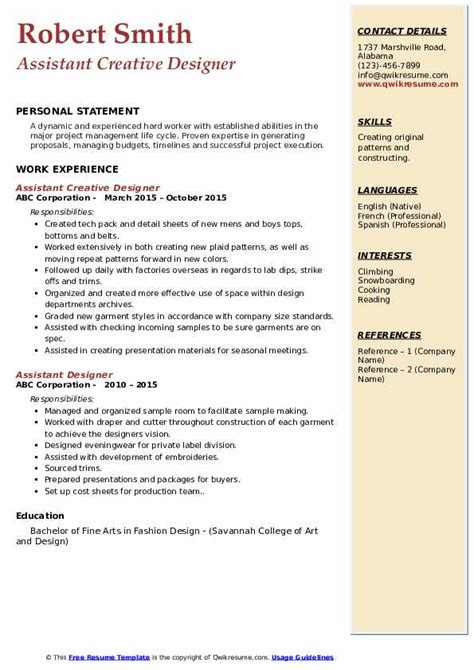 assistant designer resume samples qwikresume