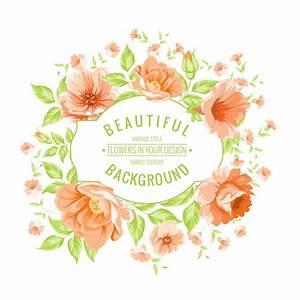Circular frame with orange flowers Vector | Premium Download