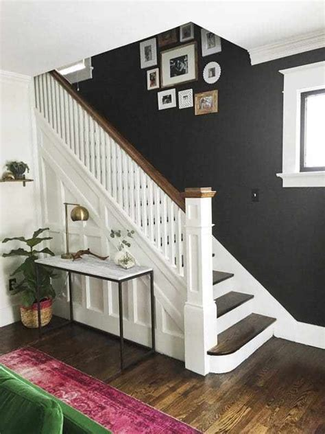 living room small and wooden staircases brick wall design painted staircases black vs white bright green door
