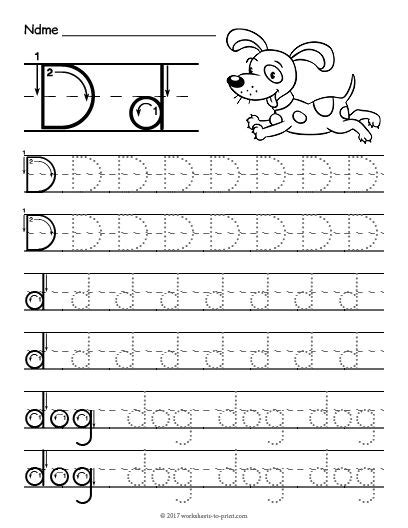 free printable tracing letter d worksheet tracing
