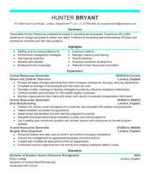human resource resume sles human resources resume exles human resources resume
