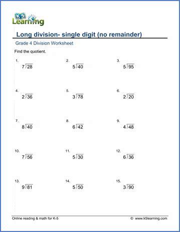 grade  long division worksheets    digit numbers