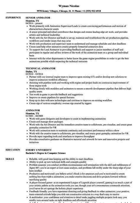 3d Animator Resume by Animator Resume Sles Velvet