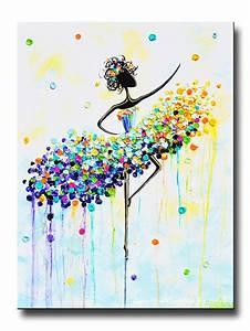 GICLEE PRINT Art Abstract Dancer Painting Aqua Blue CANVAS