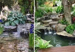 Teich Mit Wasserfall : k nstlicher wasserfall im teich gestalten mit flachen eckigen steinen garten pinterest ~ Markanthonyermac.com Haus und Dekorationen
