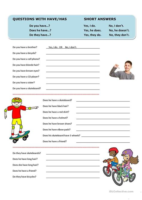 What Do You Do For Answers by Questions With Has And Answers Worksheet Free