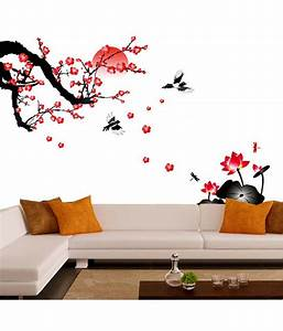 Stickerskart living room blossoms and sunset wall decor