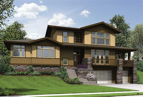 craftsman  uphill sloping lot  architectural
