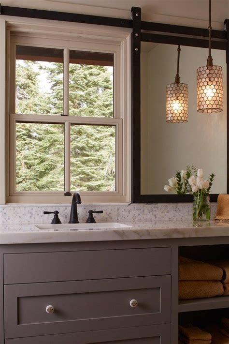 placing mirrors  front  windows modern bathroom