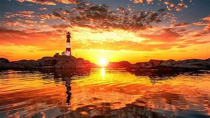 Lighthouse Sunset Ocean Clouds Rocks Wallpapers Nature