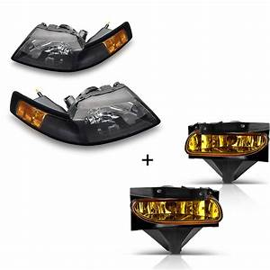 for 1999-2004 Ford Mustang Black Housing Headlights + Amber Yellow Lens Fog Lights - Walmart.com
