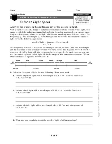 speed of light worksheet printables wave speed worksheet kigose thousands of