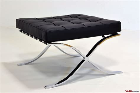 Barcelona Footstool In Black Leather With Chrome Steel