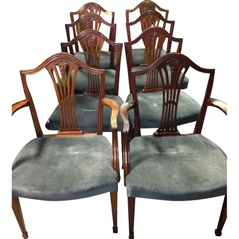 mahogany dining chairs federal hepplewhite style set of 8