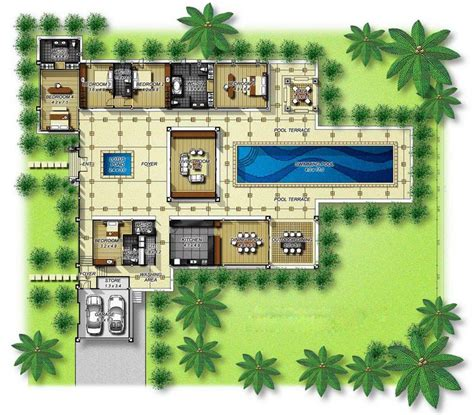 house plans  courtyards   center central