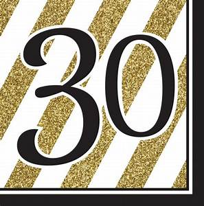 30th Birthday Gold & Black Napkins - Pack Of 16 - Party