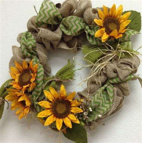sunflower burlap wreath images  pinterest