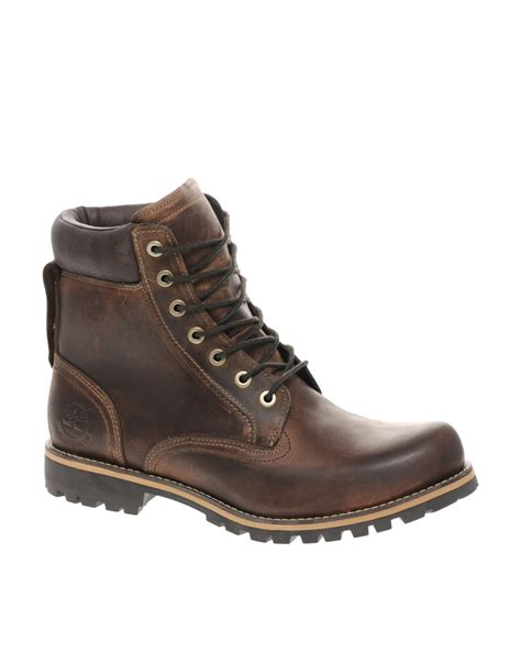 designer timberland boots timberland earthkeeper rugged plain toe boots in brown for