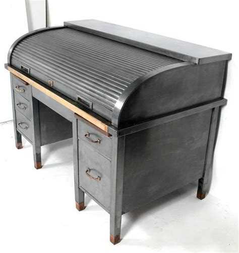 metal roll top desk 1930s banker 39 s metal roll top industrial desk at 1stdibs