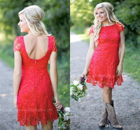 red full lace short  bridesmaid dresses cheap western