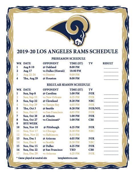 printable los angeles rams schedule