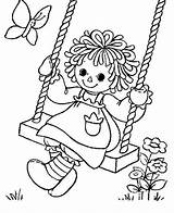 Raggedy Ann Coloring Andy Swing Playing Netart Colouring Dolls Adult Doll Golliwog Sheets Paper Embroidery Happy Patterns sketch template