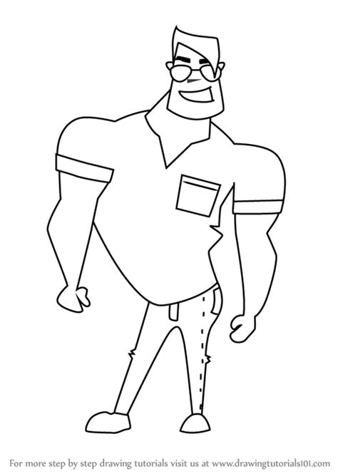 step  step   draw  funny cartoon man