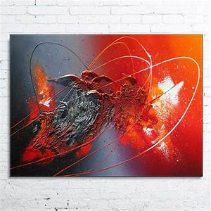 Tableau Peinture Moderne : tableau abstrait contemporain aldebaran peinture moderne acrylique toile en relief noir rouge ~ Teatrodelosmanantiales.com Idées de Décoration