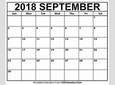 Printable September 2018 Calendar Templates 123CalendarsCom