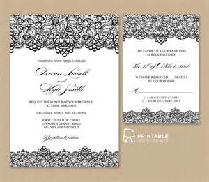 print wedding invitations black lace vintage wedding invitation and rsvp wedding invitation templates printable