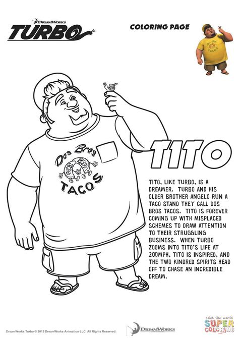 turbo coloring pages tito from turbo coloring page free printable coloring pages