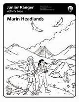 Ranger Junior Marin Headlands Coloring Activity Jr Designlooter Park National 1156 11kb Service sketch template