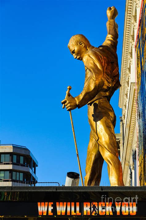 Golden Statue Of Freddy Mercury Of Queen  We Will Rock You Musical Photograph By David Hill