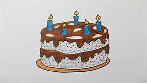 Dessin Gateau Anniversaire : comment dessiner un gateau d 39 anniversaire youtube ~ Melissatoandfro.com Idées de Décoration