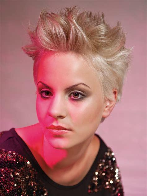 glamorous short hairstyle   hair styled upright