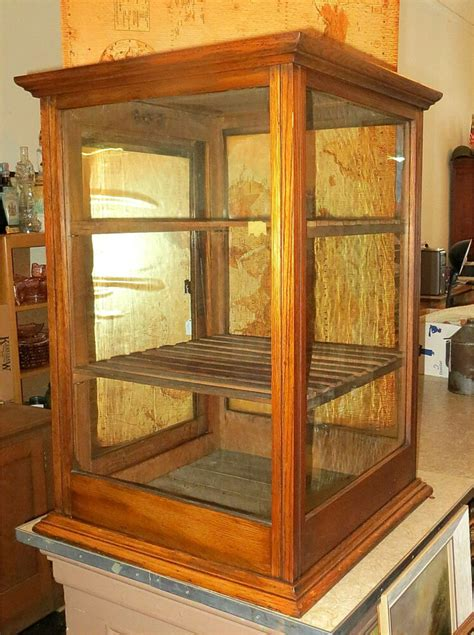 Countertop Display Cases - antique oak general store countertop display