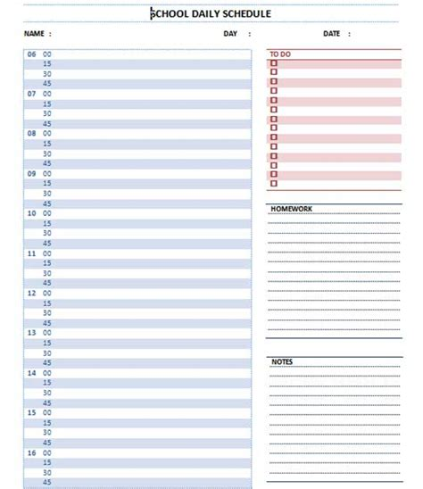 daily schedule template word planner templates microsoft word templates