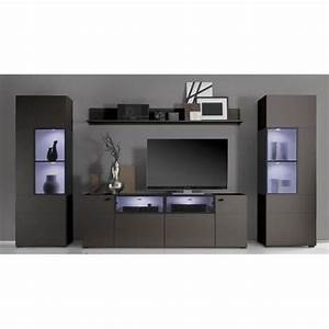 Meuble Gris Anthracite : ensemble meuble tv design gris anthracite a led multicolore alex 350 cm achat vente meuble ~ Teatrodelosmanantiales.com Idées de Décoration
